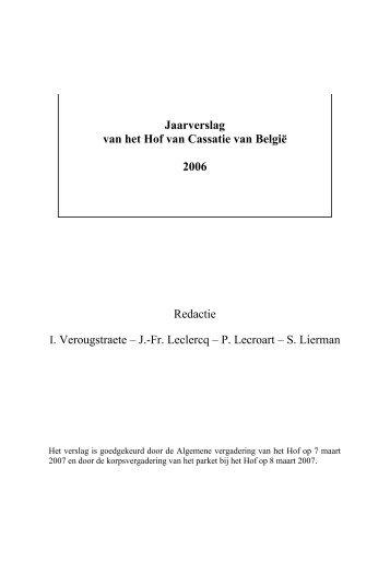 2006 - Jaarverslag Hof van Cassatie (PDF, 1.61 MB) - Federale ...