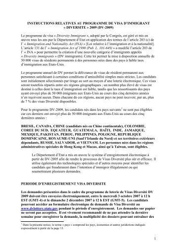 instructions relatives au programme de visa d'immigrant