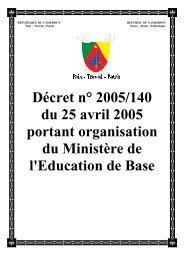Décret n° 2005/140 du 25 avril 2005 portant organisation du ...
