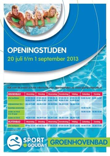 Openingstijden 19 juli tot 2 september - Sport.Gouda