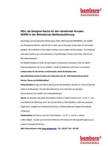NEU, die Designer-Sauna für den verwöhnten Kunden ... - Bemberg