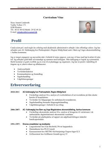Curriculum Vitae for Sisse Annett Linderoth ... - Potential in Action