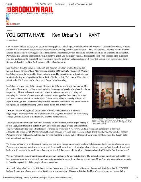 YOU GOTTA HAVE Ken Urban's I KANT