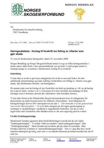 skadefelling-horingssvar - Norges Bondelag
