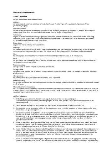 Algemene voorwaarden MV09-200L - Slegt & Sealtiel
