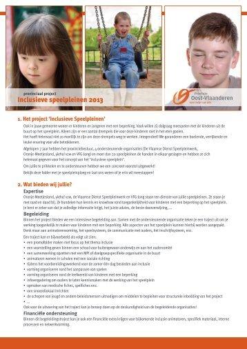 Oproep project inclusieve speelpleinen 2013 - Vlaamse Dienst ...