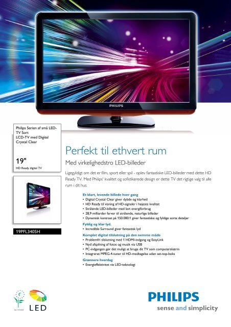 19PFL3405H/12 Philips LCD-TV med Digital Crystal Clear - Lomax