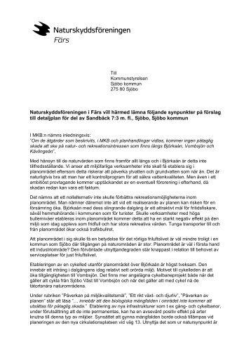 Remissvar detaljplan Sandbäck 2011-01-13 - Naturskyddsföreningen