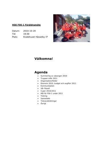 Välkomna! Agenda - Hässelby SK Fotboll