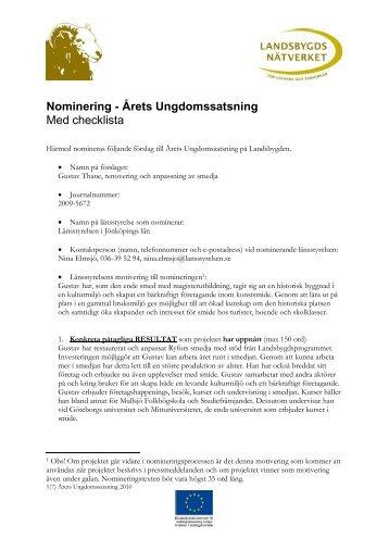 Nominering - Årets Ungdomssatsning - Landsbygdsnätverket