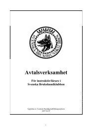 Koncept avtalsinstruktör - Svenska Brukshundklubben