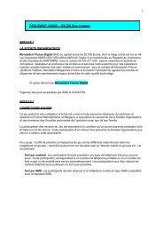 REGLEMENT CADRE – JEU 500 Euro à gagner ARTICLE 1 LA ...