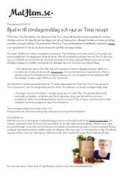 Bjud in till söndagsmiddag och njut av Tinas recept - Mynewsdesk