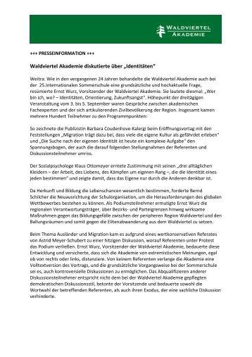 Nachbericht 2009 - Waldviertel Akademie