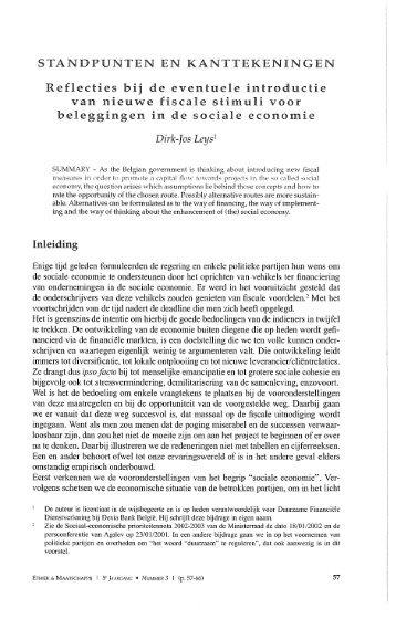 Reflecties bij de eventuele introductie van nieuwe fiscale stimuli ...