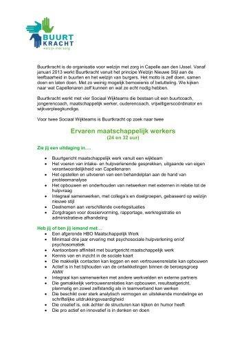 Ervaren maatschappelijk werkers - Buurtkracht