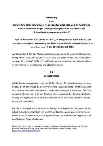 Bußgeldkatalog-Verordnung - BKatV (pdf)