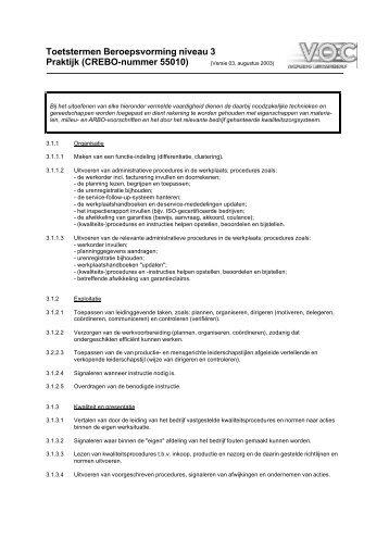 Toetstermen Praktijk Beroepsvorming (niveau 3) - VOC