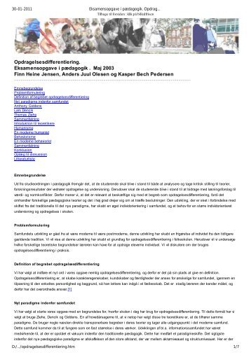 Opdragelsesdifferentiering - amhansen: Forside