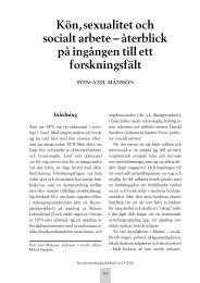 Kön, sexualitet och socialt arbete - Socialvetenskaplig tidskrift