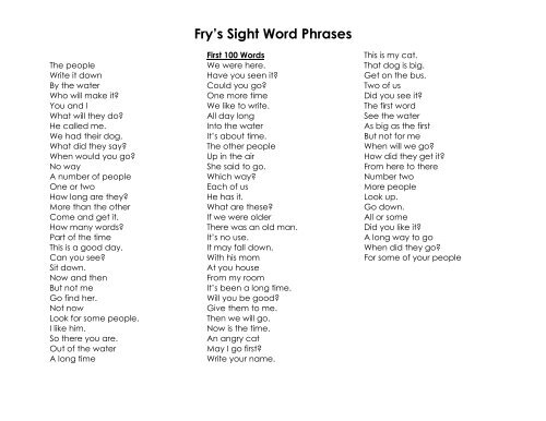 photo relating to Fry Phrases Printable identified as Frys Sight Term Words and phrases