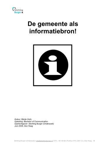 De gemeente als informatiebron! - Stichting Burger