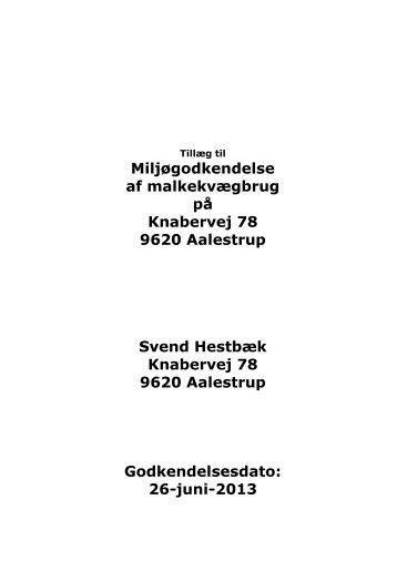 Tillæg til miljøgodkendelse - Vesthimmerlands Kommune