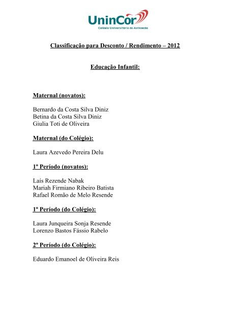 Lista dos Candidatos Aprovados - UninCor