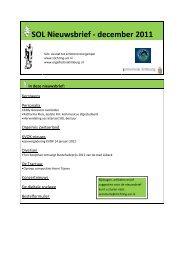 SOL Nieuwsbrief - december 2011 - Stichting Samenwerkende ...