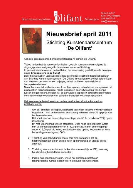 Nieuwsbrief - Kunstenaarscentrum De Olifant