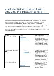 Årsplan - Historie 2012-2013 - AHI International School