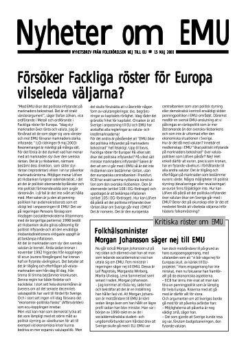 Ladda hem nyhetsbrevet som pdf-fil - Folkrörelsen Nej till EU