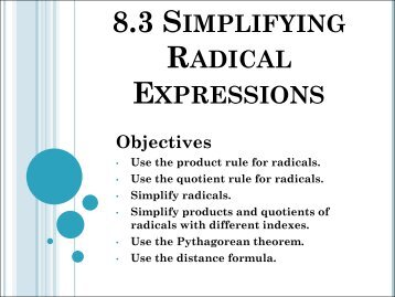 A2.A.13: Simplifying Radicals 1: Simplify radical expressions - JMap