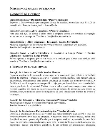 Índice de Análise de Balanço - SINCONTECSINOS