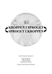 KROPPEN I SPROGET SPROGET I KROPPEN - Jesper Asp
