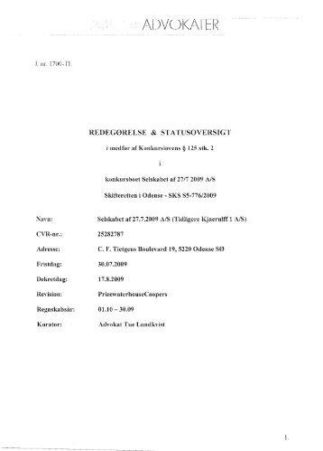 Kurators skrivelse til danske kreditorer af d. 18. december 2009 ...