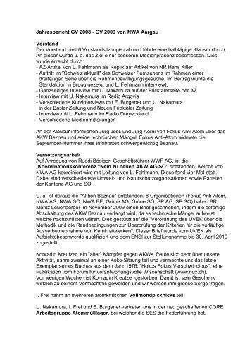 Jahresbericht GV 2008 - GV 2009 von NWA Aargau Vorstand Der ...