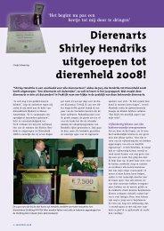 Dierenarts Shirley Hendriks uitgeroepen tot dierenheld 2008!