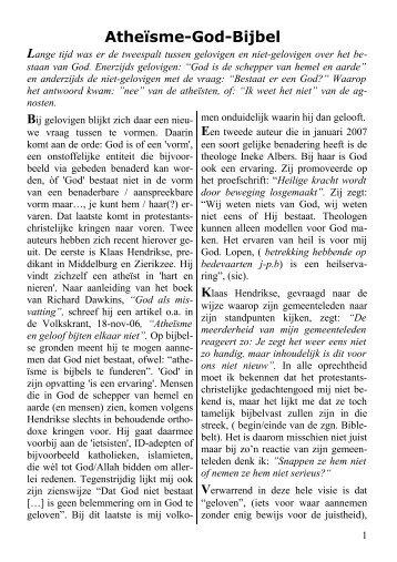 Atheïsme-God-Bijbel - Humanistisch Verbond