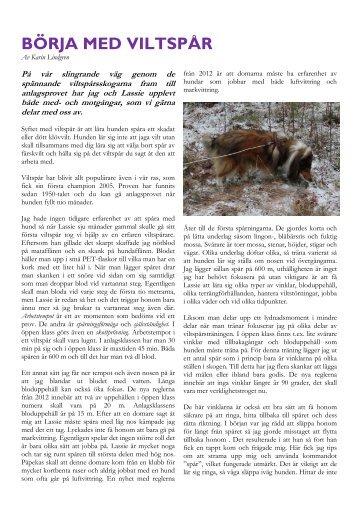 Läs artikel om viltspårning från 2012 - Svenska Collieklubben