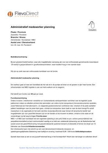 Administratief medewerker planning - FlevoDirect