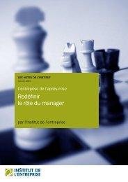 Redéfinir le rôle du manager - Institut de l'entreprise