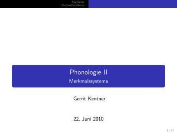 Phonologie II - Merkmalssysteme