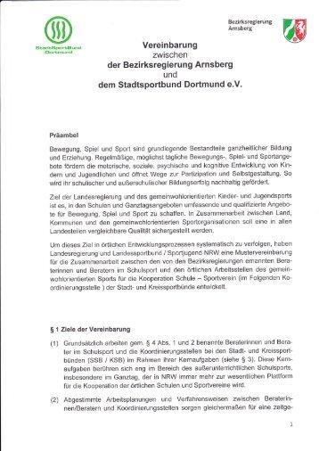 der Bezirksregierung Arnsberg dem Stadtsportbund Dortmund e.V.