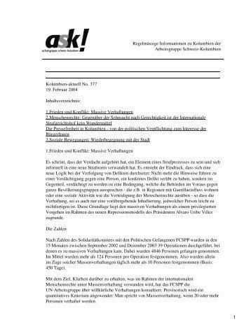 Kolumbien-aktuell No. 377 / 19. Februar 2004 - ask! Arbeitsgruppe ...