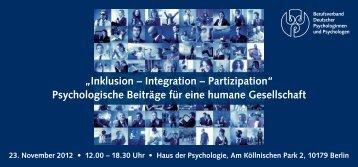 Psychologische Beiträge für eine humane Gesellschaft - BDP