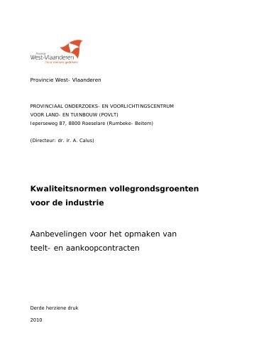 Kwaliteitsnormen vollegrondsgroenten voor de industrie ... - Inagro