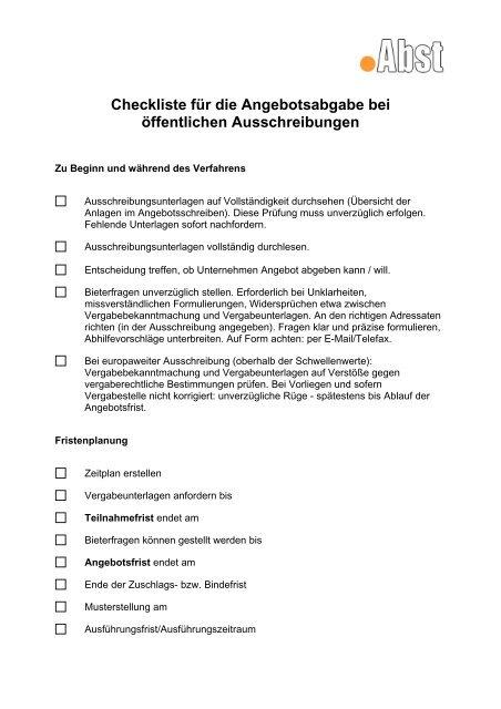Checkliste Für Die Angebotsabgabe Bei öffentlichen Ausschreibungen