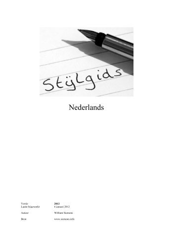 Stijlgids Nederlands - Siemons.Info