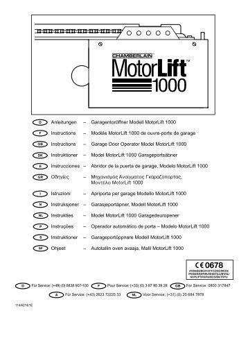 Garagentoröffner Modell MotorLift 1000 Instructions - Garagedoors.be